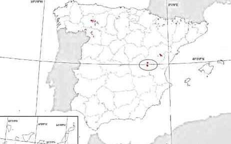 Presencia de los Prados con molinias en el territorio español según el Atlas y ubicación caso de estudio