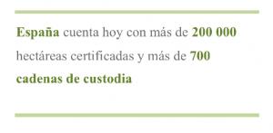 España cuenta hoy con más de 200 000 hectáreas certificadas y más de 700 cadenas de custodia