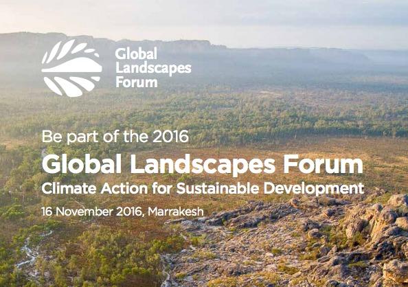El Foro Mundial del Paisajes 2016 (Global Landscapes Forum 2016, GLF 2016) tendrá lugar el 16 de noviembre de 2016 en Marrakech (Marruecos) bajo el lema «Acción climática global para un desarrollo sostenible» y con el propósito de definir el futuro del uso de la tierra y la creación de comunidades para combatir el cambio climático.