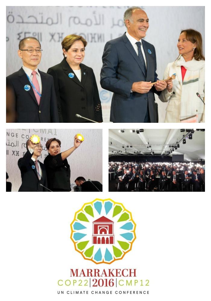 El acto inaugural estuvo presidido por el ministro de Asuntos Exteriores de Marruecos, Salaheddine Mezouar, nombrado presidente de la COP22, y contó con la presencia de Ségolène Royal, ministra francesa de Medio Ambiente y presidenta de la COP21 de París, y Patricia Espinosa, secretaria ejecutiva de la CMNUCC.