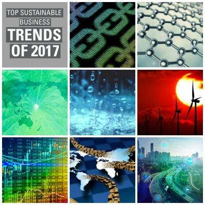 Entre las tendencias de las empresas verdes para 2017, se cuentan las siguientes: Los ODS se convierten en una estrategia empresarial; el agua ilimitada se convierte en una meta y la energía limpia corporativa crece.