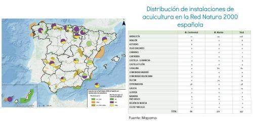 La comunidad autónoma con mayor número de instalaciones de acuicultura ubicadas dentro de espacios de la Red Natura 2000 es Andalucía, seguida de Cataluña y las instalaciones localizadas en espacios con competencia de la DGSCM. En todas ellas, la producción en el medio marino es la más predominante. En el medio continental, destaca Extremadura con el mayor número de establecimientos dentro de la Red Natura 2000.