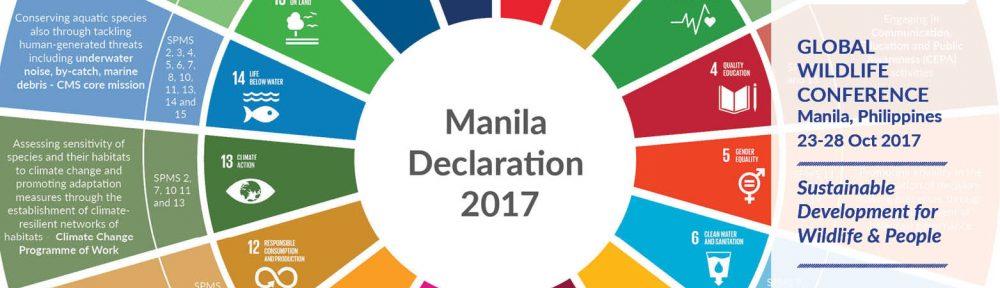 La Declaración de Manila incluye temas transversales relacionados con la conservación de las especies migratorias de animales salvajes, incluidos las basuras marinas, el cambio climático y la captura incidental.