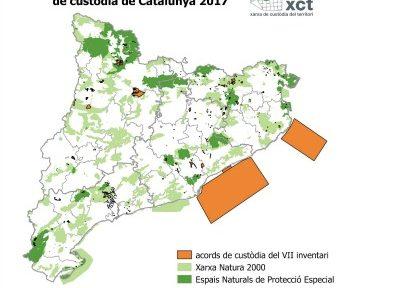 Los datos del inventario revelan que 69 entidades (-10,3 % respecto a la edición de 2015) custodian más de 40 072,14 hectáreas (-6,6 %) a través de 765 (-9,3 %) acuerdos, de los que 76 se firmaron entre 2015 y 2017. Esta superficie equivale a un 1,25 % del territorio catalán.